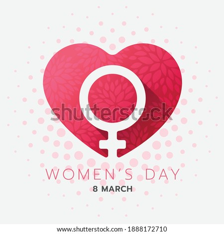 Women day banner - Female Symbol in red pink heart with flower texture background vector design