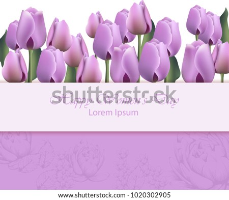 women day card with purple