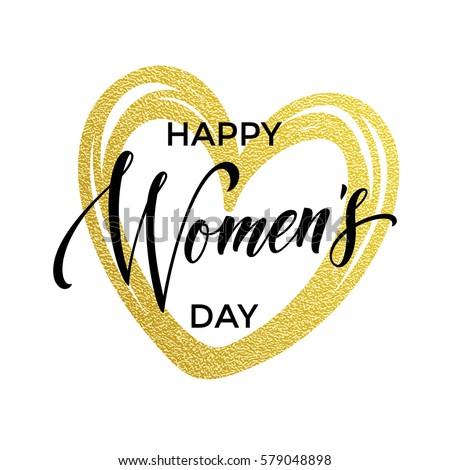 women day gold glitter heart