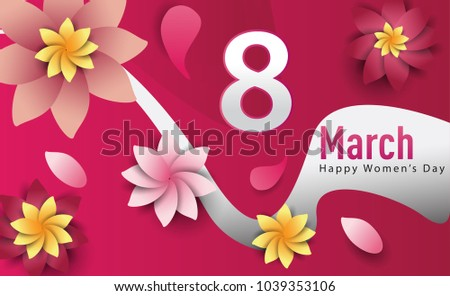 Women Day 8 March text lettering on flowers pattern background for greeting card, invitation card. women day celebration. #1039353106