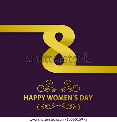 Women day typogrpahic greetings card with dark purple background