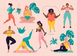 Women different sizes, ages and races activities. Set of women doing sports, yoga, jogging, jumping, stretching, fitness. Sport women vector flat illustration isolated on pink background.