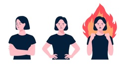 Women doing a angry gesture set. arguing women. Angry lady yelling, Person loosing temper in conflict. Girl argument, Negative emotions. annoyed people, Flat style vector design illustrations.