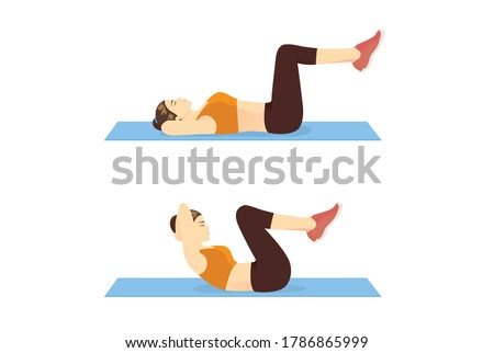 Women doing Double Crunches exercise on blue mat for flat belly. Illustration about workout for strong abdominal. Сток-фото ©