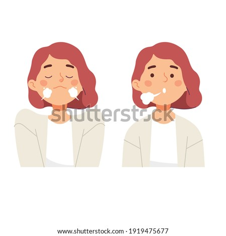 women doing inhale exhale breath exercise for calm stress relief in vector cartoon flat style illustration