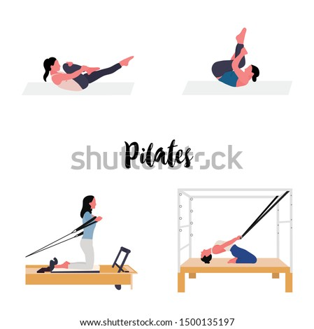 Women doing pilates with equipment -pilates reformer and cadillac