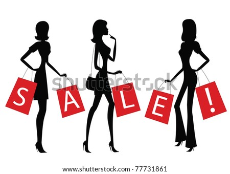 """women doing shopping with word """"SALE"""" on their bags."""