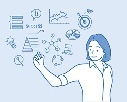 Women drawing her  business project. Hand drawn style vector design illustrations.