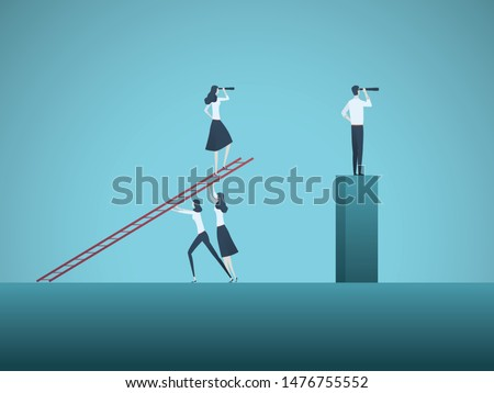 Women emancipation, equality and feminism in business corporate culture vector concept. Symbol of confidence, teamwork, success and achievement. Eps10 illustration.