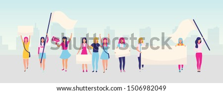 Women empowerment protest flat vector illustration. Feminist demonstration, girl power movement concept. Feminism, women rights protection. Female activists holding blank placards cartoon characters