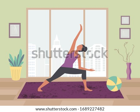 Women exercising yoga at home flat color vector. Stay at home yoga meditation practice cartoon. Breathing exercise workout background. Healthy lifestyle indoors morning fitness activities illustration