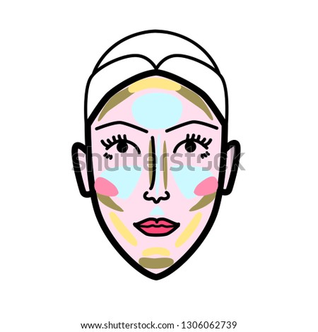 Women face strobing scheme minimal concept line art icon for skin care cosmetics design, strobing or contouring scheme, logo, product instrustion, poster or flyer