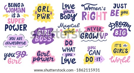 Women feminist quotes. Female motivational slogan, body positive and inspirational hand drawn letterings. Women empowerment vector illustrations. Girlish saying as do what you love, girl boss