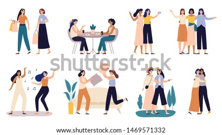 Women friends. Girlfriends spend time together, walking with friend and young girls with pillow fighting. Powerful women standing, dancing and friendship hugging vector illustration set