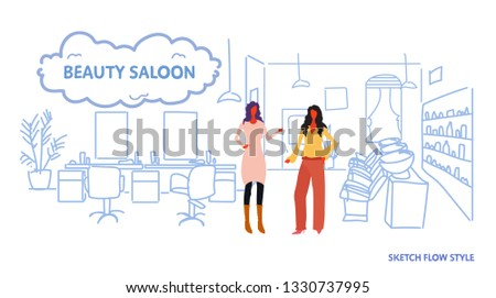 women hairdressers near armchair modern beauty saloon interior hairdressing room female workers full length sketch flow style horizontal