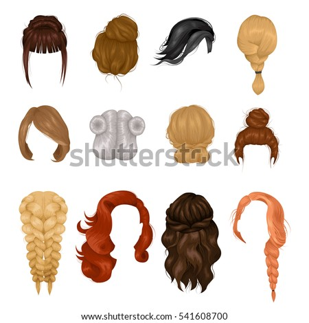 Women hairstyle wigs false and natural hair pieces front and back view realistic icons collection isolated vector illustration