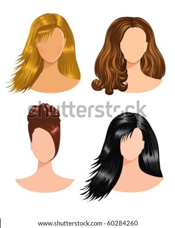 stock vector : women hairstyles