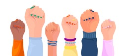Women hands with different skin color. Girl power poster. Set. Hands with different  trappings. Feminism, race equality, tolerance art. Vector
