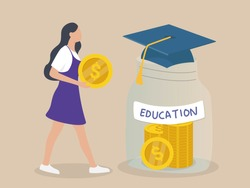 women hold coins, save for education. Economy school subject concept. Student studying economics and money. Idea of business capital, investment and money making.