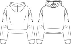 Women Hooded Crop Top fashion flat sketch template. Technical Fashion Illustration. Sweatshirt