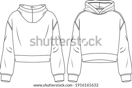 Women Hooded Crop Top fashion flat sketch template. Technical Fashion Illustration. Sweatshirt Stockfoto ©