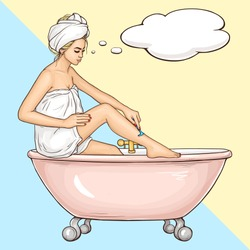 Women hygiene and beauty, body care cosmetics pop art vector ad banner template with young, blond woman wrapped in white bath towel, sitting on bathtub edge, shaving leg with safety razor illustration