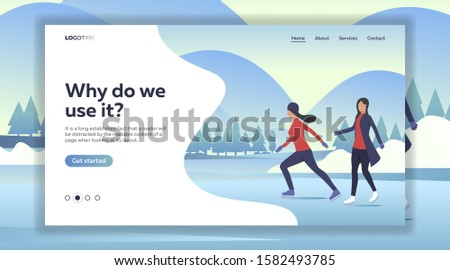 Women ice skating on lake. Sport, leisure, active lifestyle flat vector illustration. Outdoor activities concept for banner, website design, landing web page