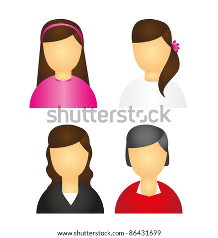 women icons isolated over white background. vector