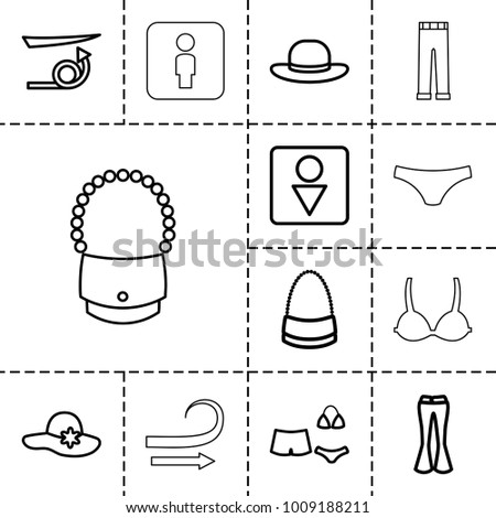 Women icons. set of 13 editable outline women icons such as straight hair, woman hat, male wc, bag, woman pants, swimsuit, curly hair, female underwear