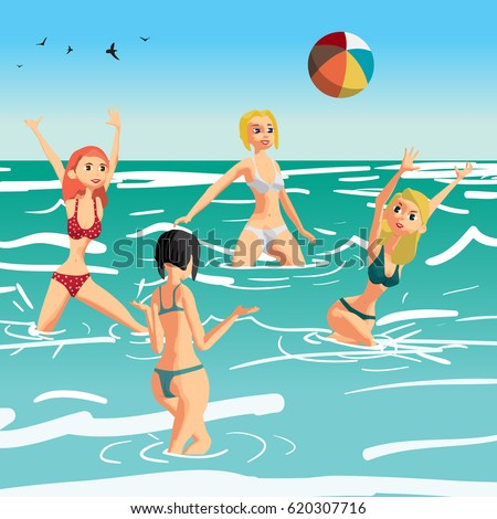 women in a bikini play