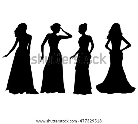 women in dress silhouettes