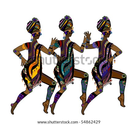 stock vector : Women in ethnic style dancing on a white background