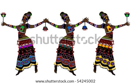 stock vector : Women in ethnic style dancing their traditional dance