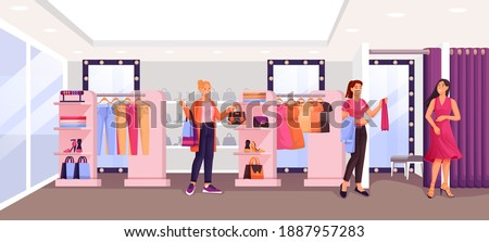Women in fashion shop trying clothes. Woman in dress in fitting room, assistant helping, young girl looking at clothes. Apparel on hangers. Modern boutique vector illustration. Stock foto ©