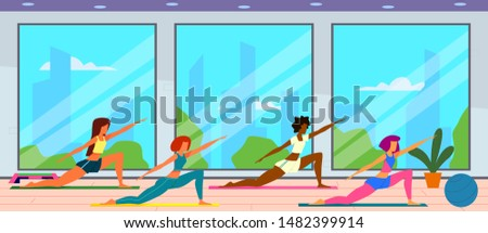 Women in gym. Female group doing fitness exercises, fit girls workout and healthy lifestyle. Active people indoor vector young woman stand relaxing vitality concept