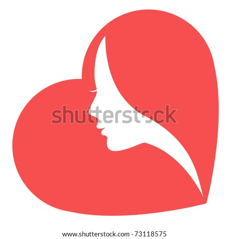 Women in heart  / The stylized image of a white female silhouette in red heart. Isolated on a white background. - stock vector