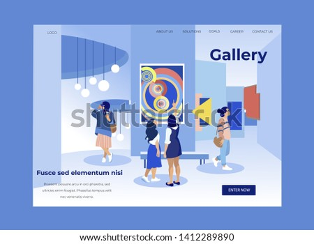Women in Modern Museum View Exhibits. Exhibition Center. Vector Illustration . White Background. Walk Through Museum. Visit Exhibition. Art Gallery. Watch Exclusive Exhibits. Exhibition of Paintings.