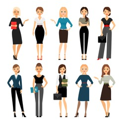 Women in office clothes. Beautiful woman in business clothes. Vector illustration