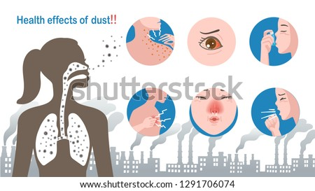 Women in shadow show the respiratory system. Affected to health From dust, smoke, pollution. Health effects of dust, How does dust affect health?. respiratory system. Illness in a circle. Info graphic