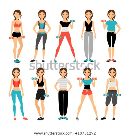 Women in sportswear. Sport outfit young woman vector illustration