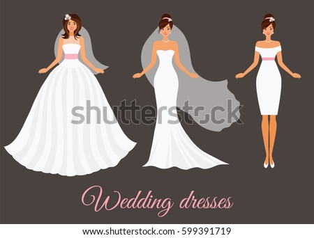 women in wedding bridal dresses