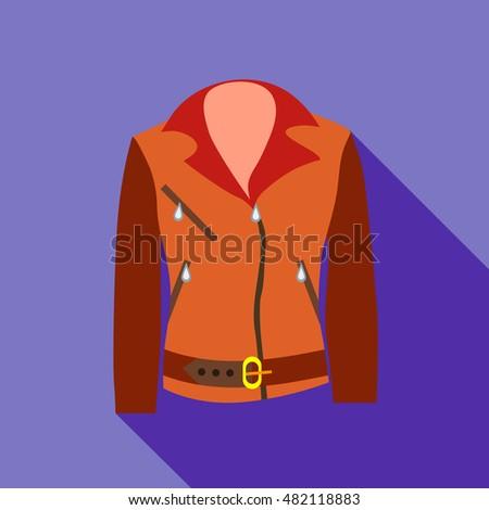 women jacket icon in flat style