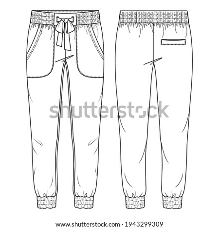 Women Jogger Pant Vector Fashion Flat Sketches. Fashion Technical Illustration Template. Front Apply pockets. Elastic waist Photo stock ©