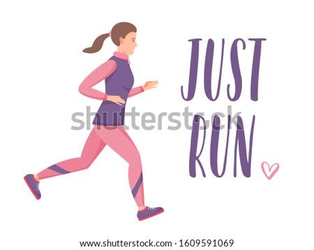 Women jogging and training, just run lettering sign, flat vector illustration