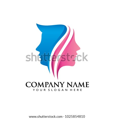 women man modern line logo icon