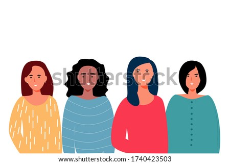 Women modern business poster in fashionable style on a white background. Cartoon beautiful young women smiling together. Teamwork concept. banner of colegs, friends, students. Abstract vector Imagine de stoc ©