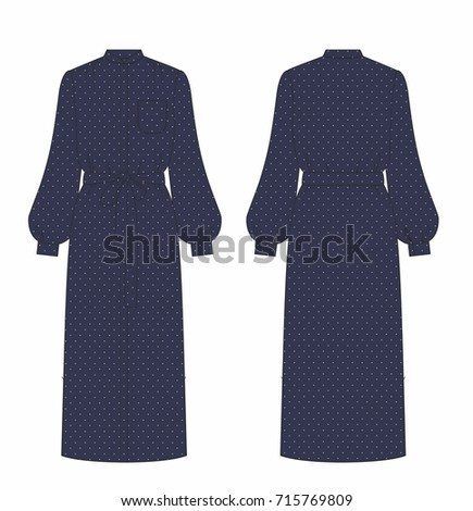women navy long dress with dots