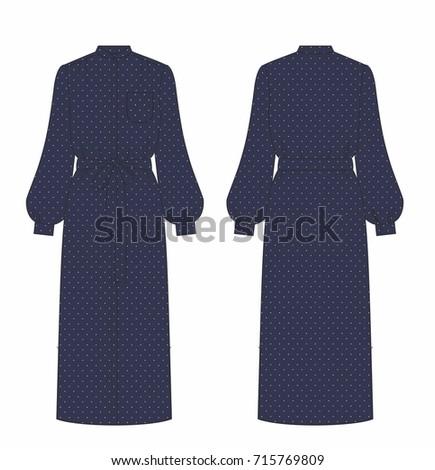 women navy long dress with dots
