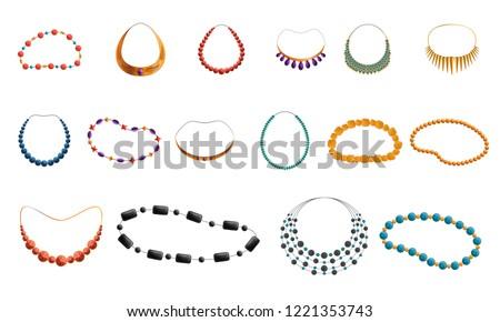 Women necklace beads icon set. Cartoon set of women necklace beads vector icons for web design Сток-фото ©