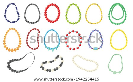 Women necklace vector illustrations set. Collection of fashionable necklaces made of gold, silver, pearl, beads on white background. Beauty, jewelry, accessory concept for web design
